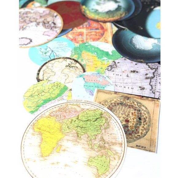 Craft Map Pieces Maps 20PC Globe Smashbook